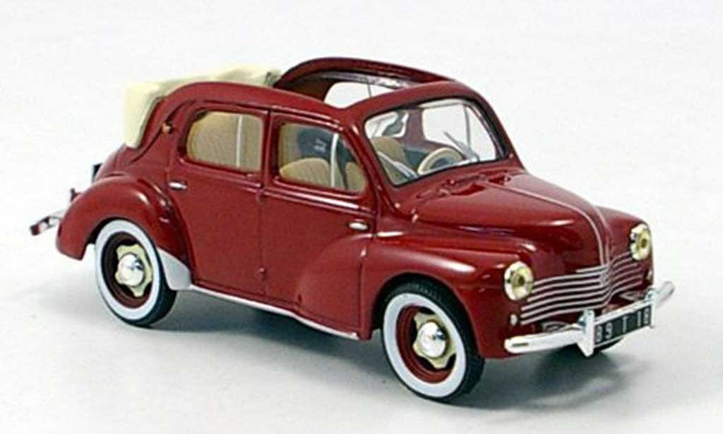 Renault 4CV 1/43 Hachette Decouvrable roja 1952 miniatura
