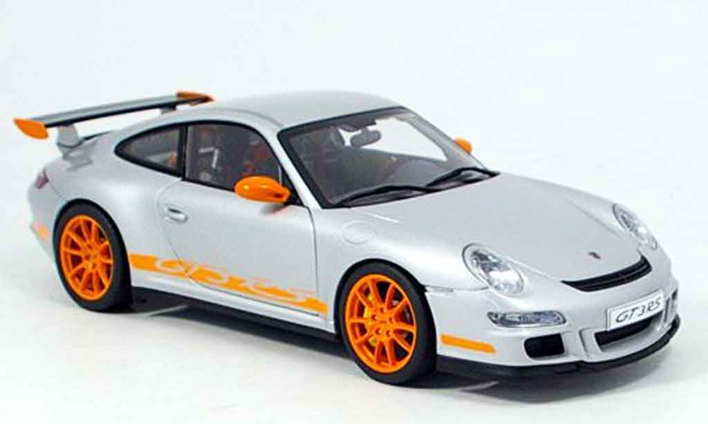 Porsche 997 GT3 RS 2006 1/18 Autoart grise-orange miniature
