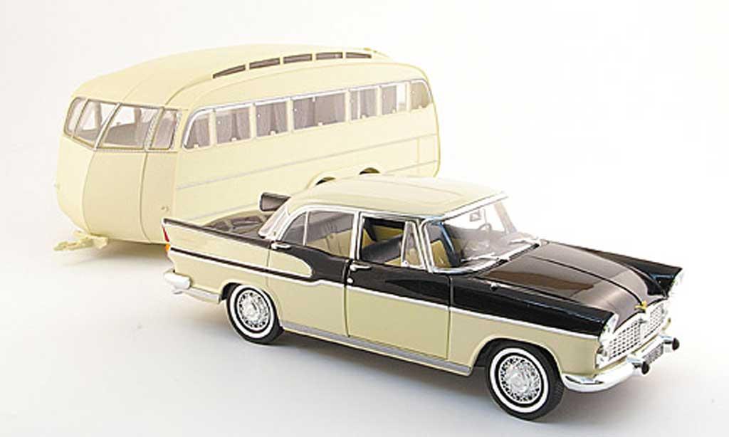 Simca Chambord 1/18 Norev beige noire avec caravane 1958 miniature