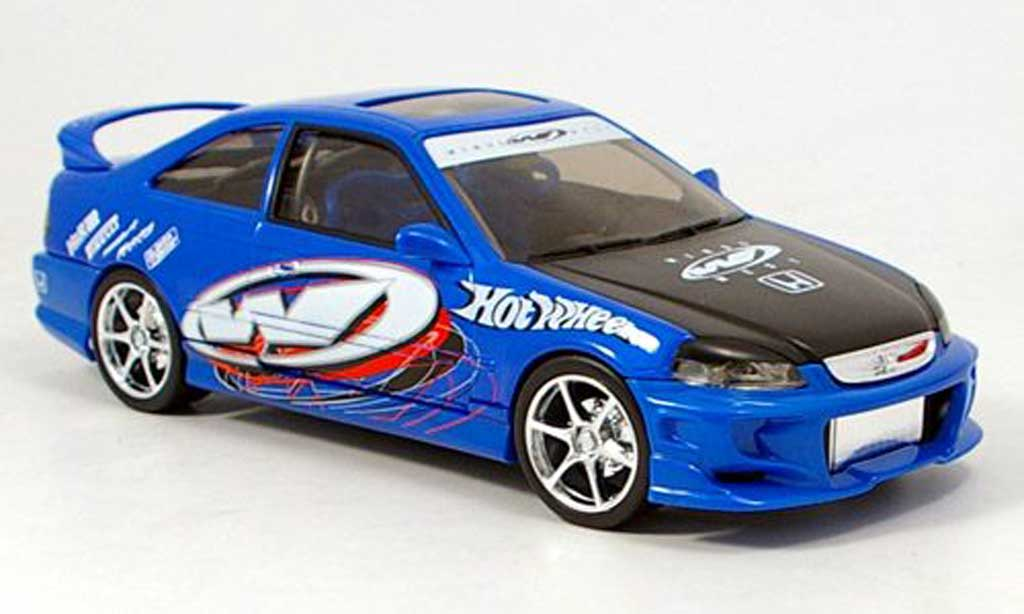 Honda Civic 1/18 Hot Wheels si bleu tuning miniature