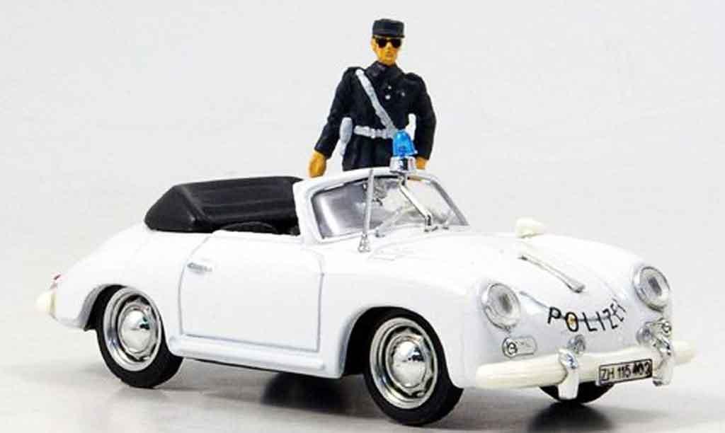 Porsche 356 1952 1/43 Brumm police Schweiz avec Figur miniature
