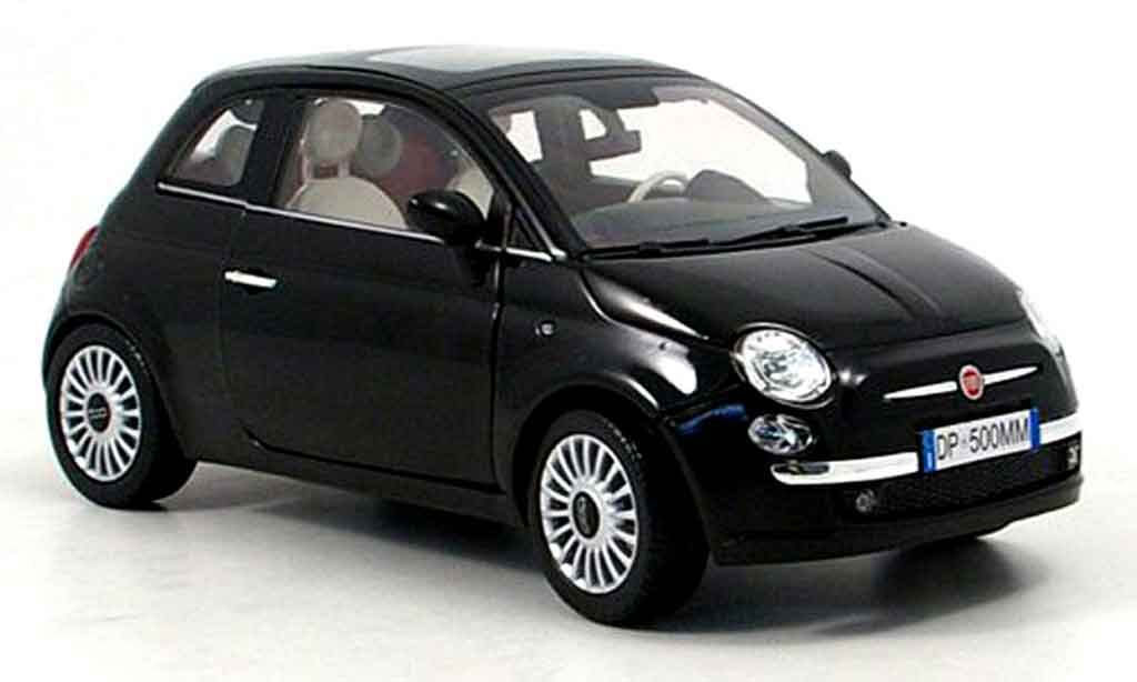 fiat 500 miniature noire 2007 mondo motors 1 18 voiture. Black Bedroom Furniture Sets. Home Design Ideas