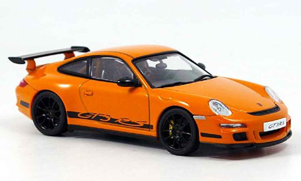Porsche 997 GT3 RS 1/43 Autoart orange noire miniature