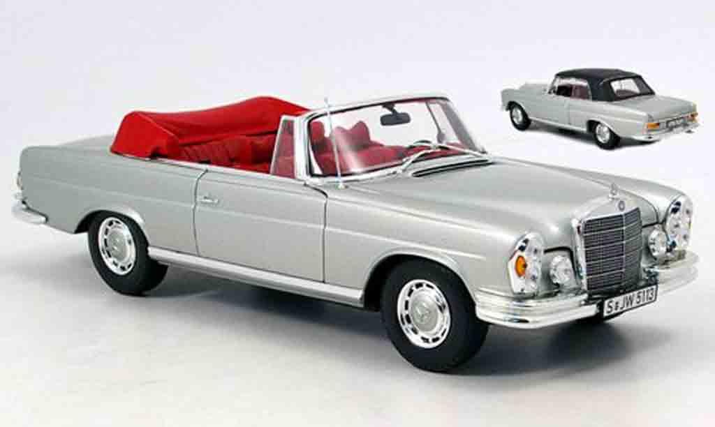 Mercedes 280 1969 1/18 Norev se cabriolet grau avec hardtop modellautos