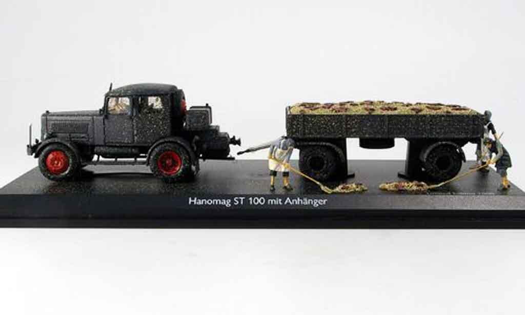Hanomag ST 100 1/43 Schuco avec 2 Achs Anhanger und Figuren miniature