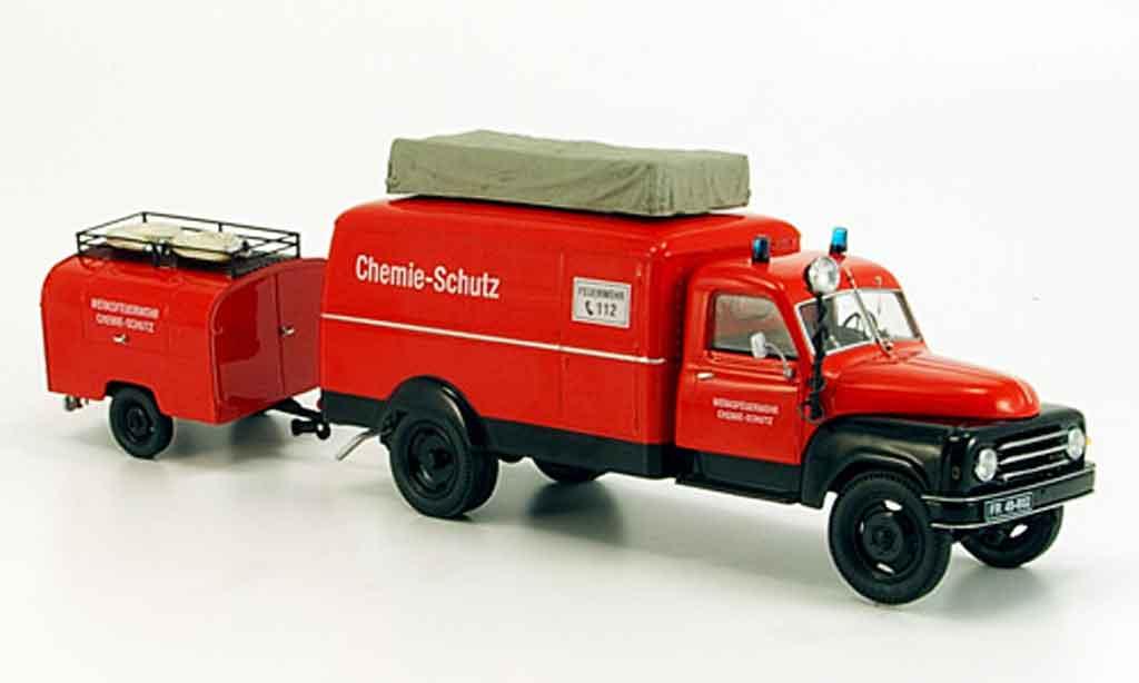 Hanomag L28 1/43 Schuco Kastenwagen avec TSA Anhanger pompier miniature