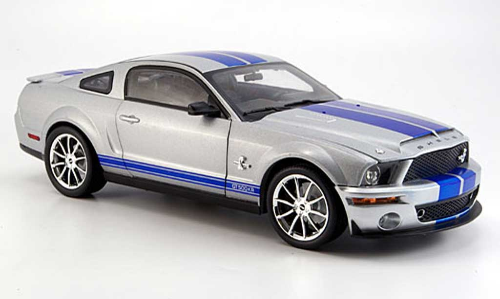 Shelby GT 500 1/18 Shelby Collectibles kr grise/bleu 2008 miniature
