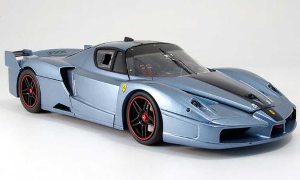 Ferrari Enzo FXX 1/18 Hot Wheels Elite bleugrise mit bleuem Streifen miniature