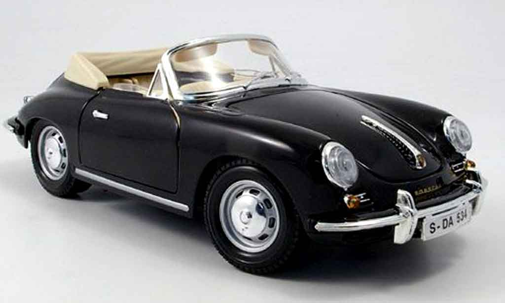 Porsche 356 1961 1/18 Burago B cabriolet noire miniature