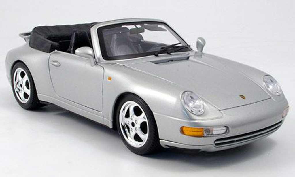 Porsche 993 Cabriolet 1/18 Burago Cabriolet Carrera grise miniature