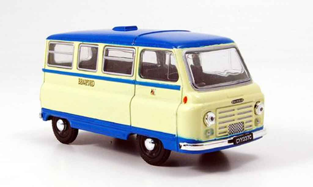 Morris J2 1/43 Oxford Bus beige bleu Bradford miniature