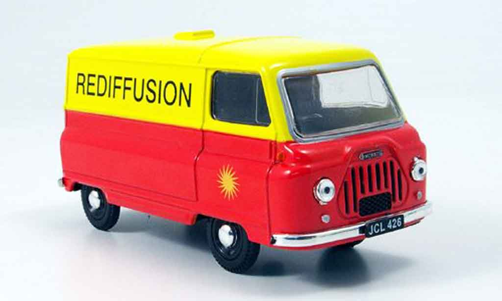 Morris J2 1/43 Oxford Kasten orange jaune Rediffusion miniature
