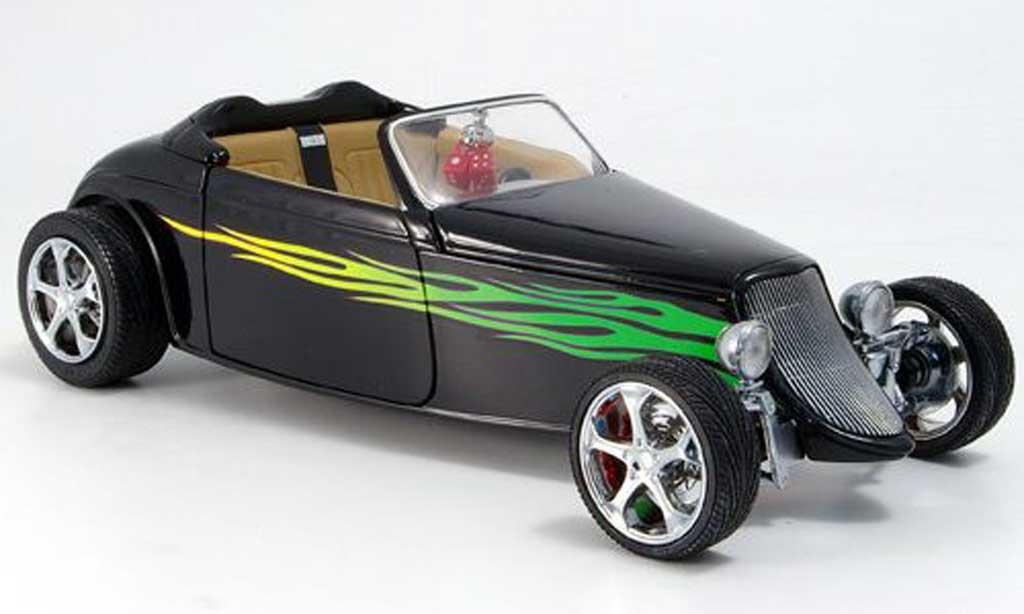 Ford Hot Rod 1/18 Yat Ming convertible noire grune flammen offen 1933 miniature