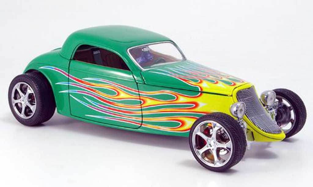 Ford Hot Rod 1/18 Yat Ming coupe grun avec flammendesign 1933 diecast model cars