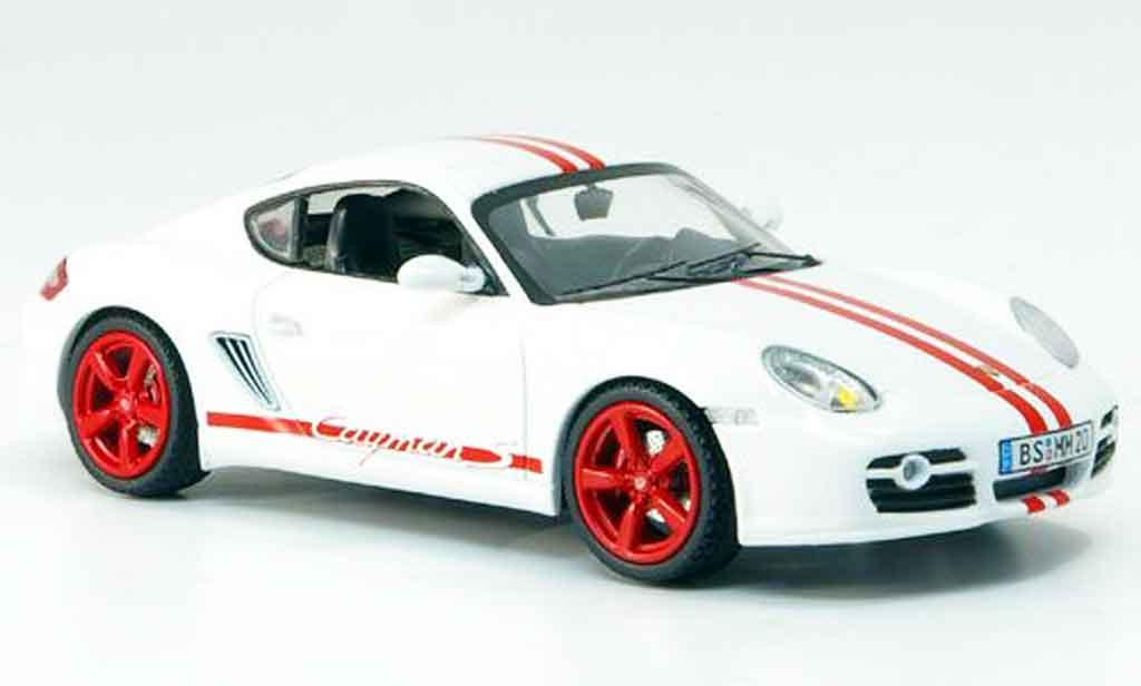 Porsche Cayman 1/43 Schuco S blanche rouge miniature
