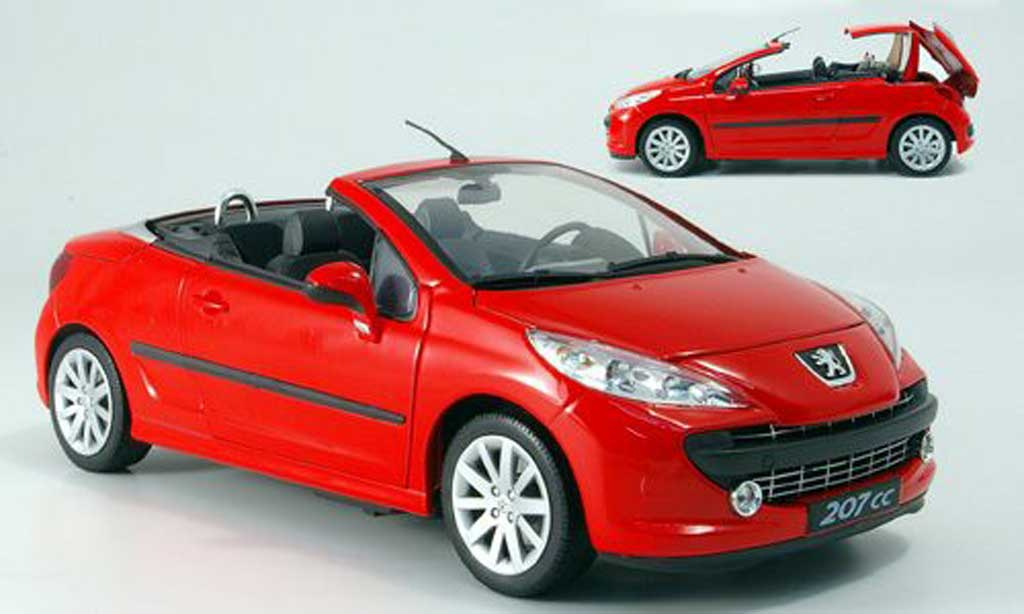 peugeot 207 cc miniature rouge welly 1 18 voiture. Black Bedroom Furniture Sets. Home Design Ideas