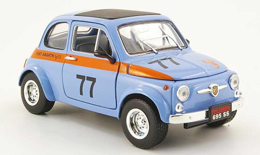 Fiat 500 Abarth 1/18 Mondo Motors 695ss bleu no.77 miniature