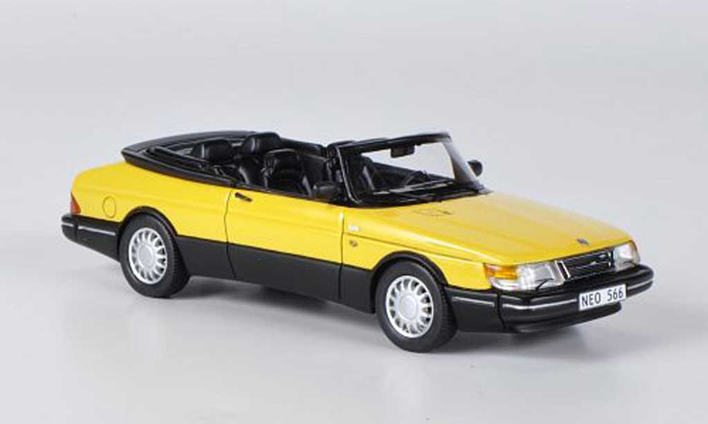 Saab 900 1987 1/43 Neo Cabriolet jaune/noire miniature