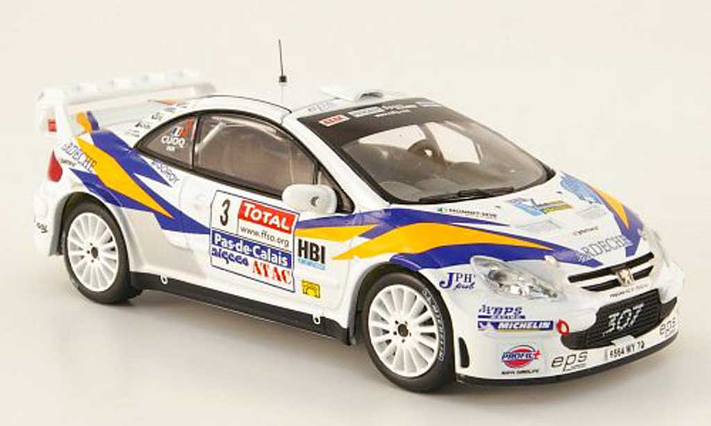 Peugeot 307 WRC 1/43 IXO No.3 Cuoq/Pain Rally Touquet 2006 miniature