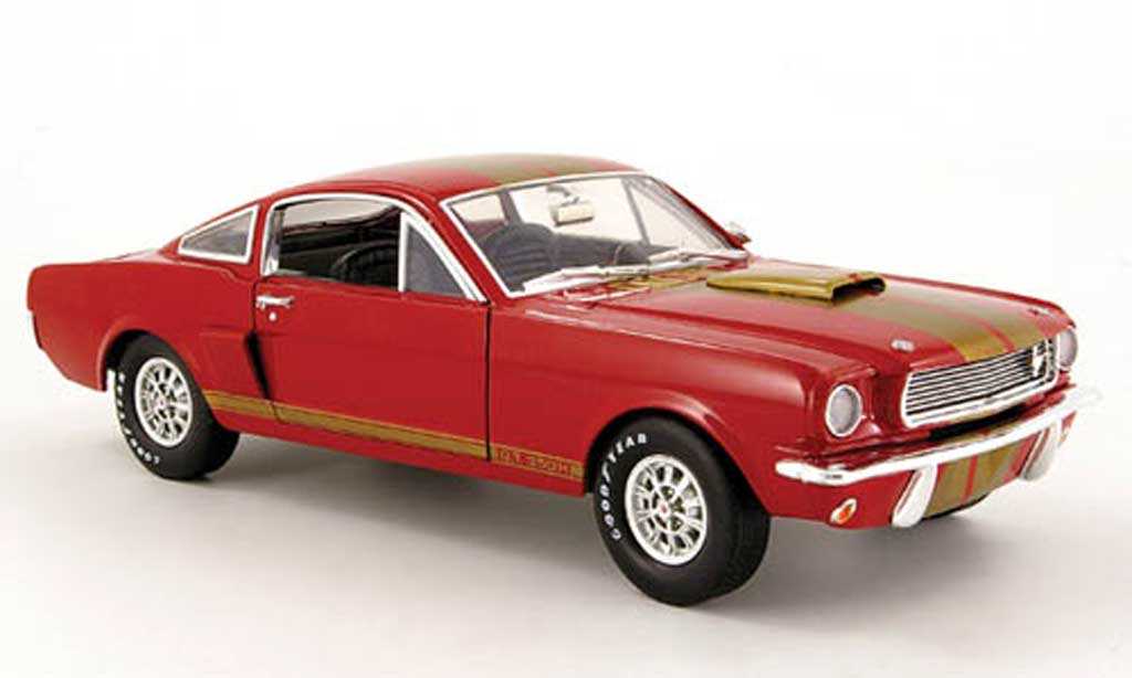 Shelby GT 350 1966 1/18 Shelby Collectibles h rouge avec bandes or hertz miniature
