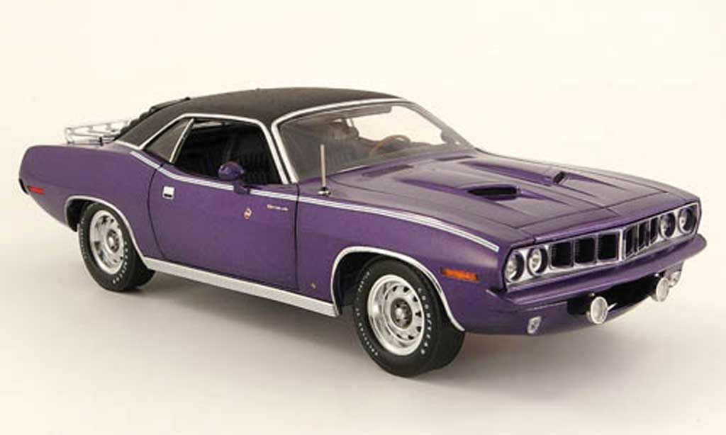 Plymouth Gran Barracuda 1/18 Highway 61 violette noire 1971 miniature
