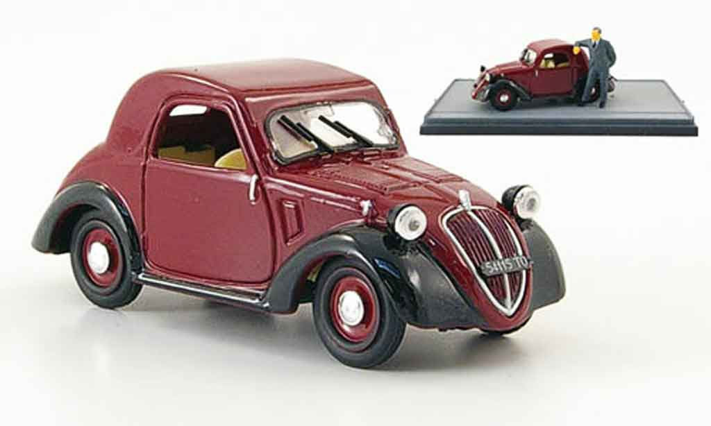 Fiat 500 A Topolino Red Black 1936 Brumm Diecast Model Car