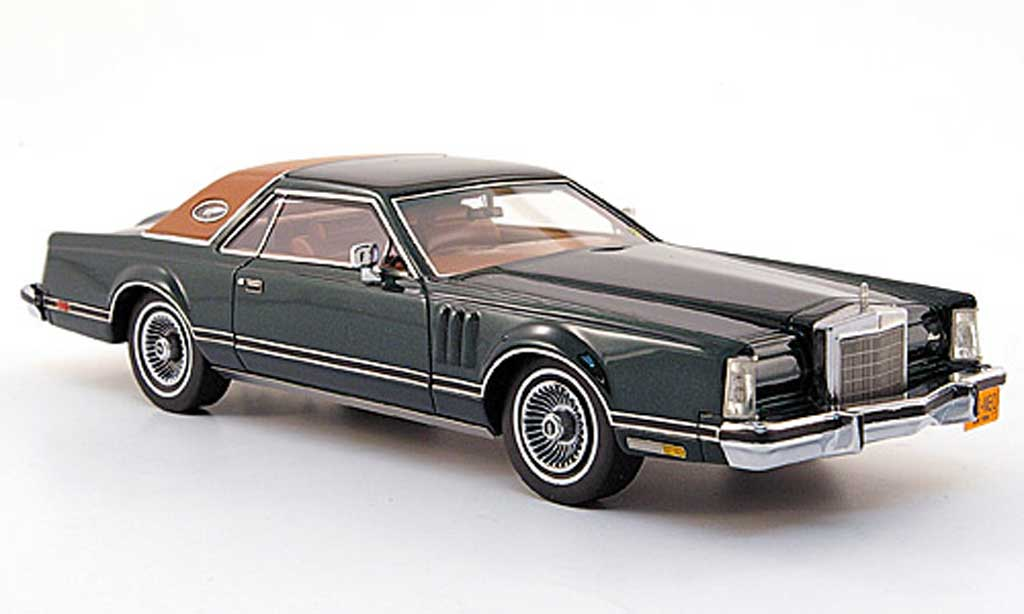 Lincoln Continental 1978 1/43 Neo Mark V noire-vert miniature