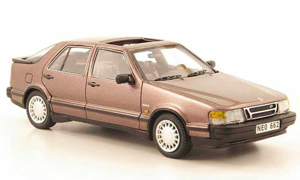 Saab 9000 Turbo 1/43 Neo brun 1988 miniature