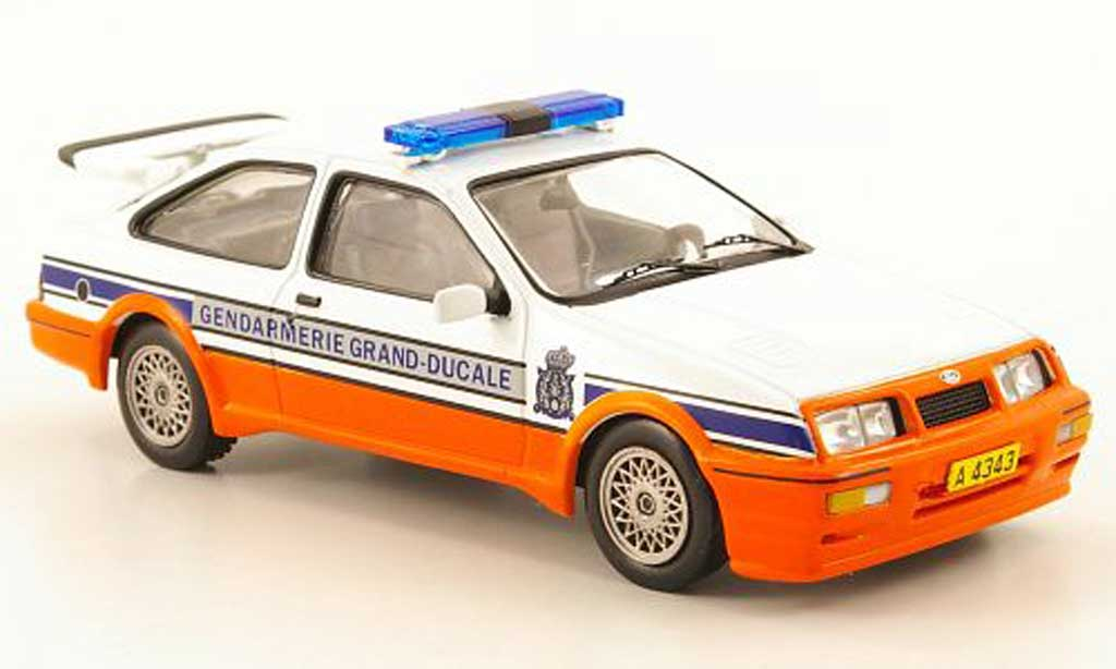 Ford Sierra Cosworth RS Cosworth Gendarmerie Grand-Ducale (L) 1988 IXO. Ford Sierra Cosworth RS Cosworth Gendarmerie Grand-Ducale (L) 1988 Gendarmerie miniature 1/43