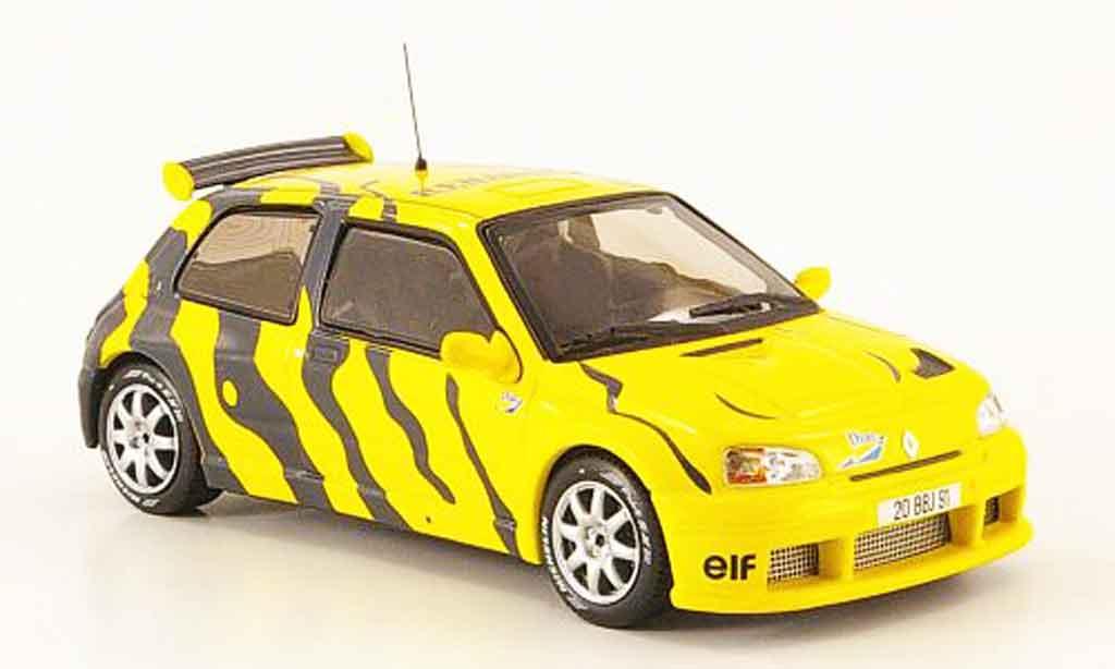 Renault Clio 1/43 IXO maxi test car jaune grise 1995 miniature