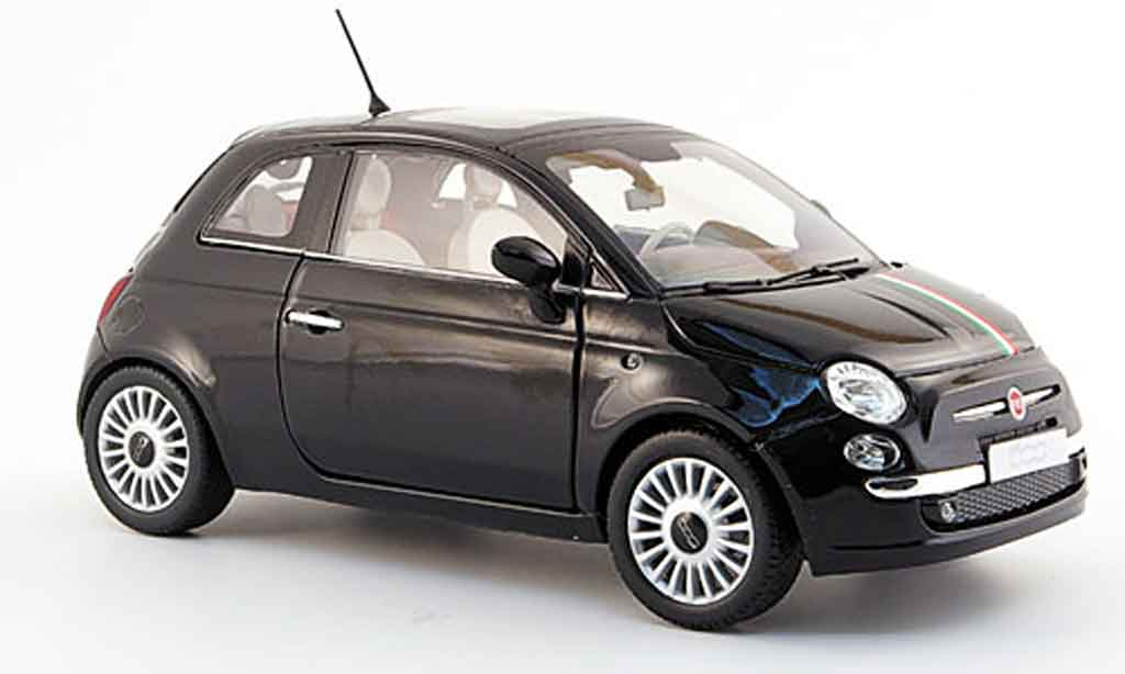 fiat 500 miniature noire mit verte blanche rougeem streifen 2007 mondo motors 1 18 voiture. Black Bedroom Furniture Sets. Home Design Ideas