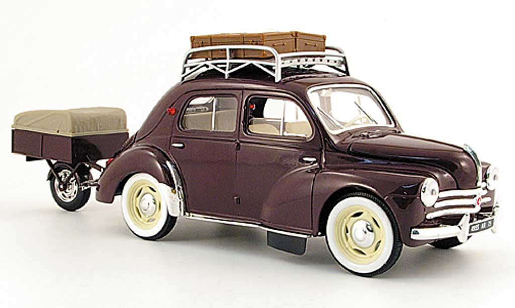 renault 4cv rot nationale 7 mit einrad anhenger 1954 solido modellauto 1 18 kaufen verkauf. Black Bedroom Furniture Sets. Home Design Ideas