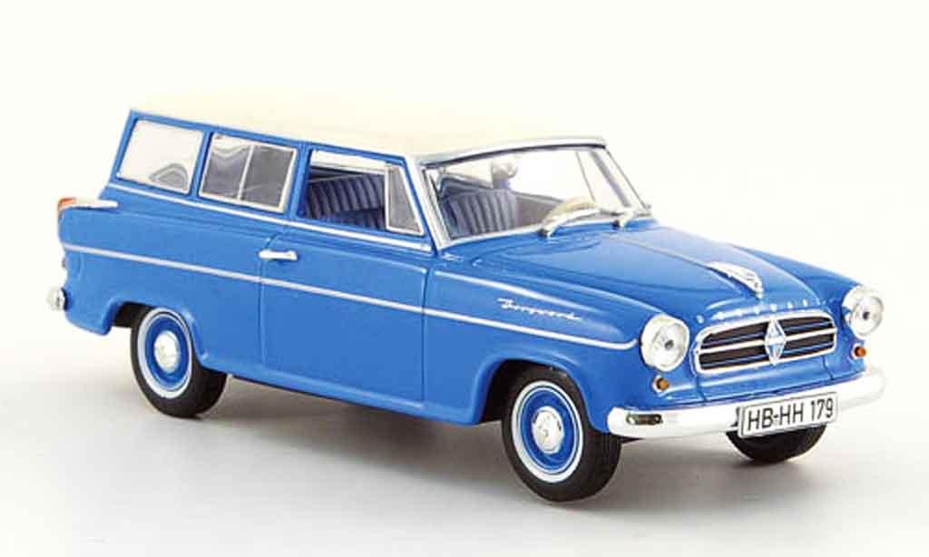Borgward Isabella 1/43 Norev Combi bleu blanche 1960 miniature