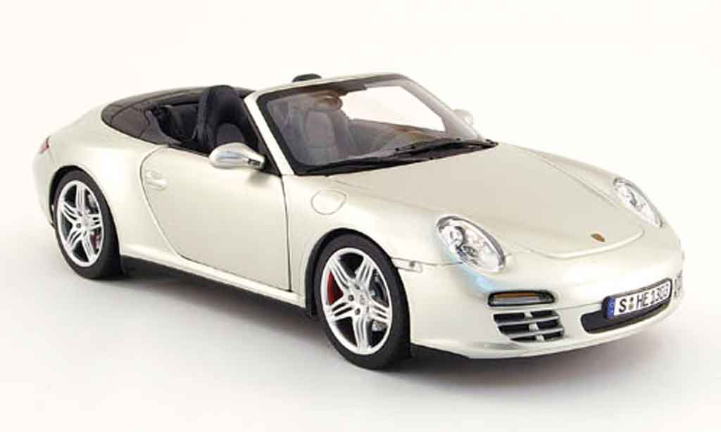 Miniature Porsche 997 Carrera 4S cabriolet grise 2008 Norev. Porsche 997 Carrera 4S cabriolet grise 2008 miniature 1/18