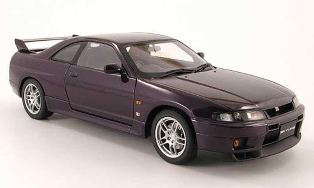 Nissan Skyline R33 1/18 Autoart r33 gt-r v-spec lila 1997 miniatura