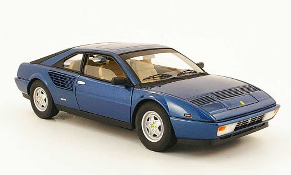 Ferrari Mondial 1/18 Hot Wheels 8 3.2 bleu miniature
