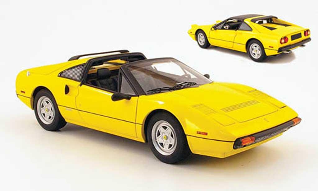Ferrari 308 GTS 1/18 Hot Wheels jaune noire interieur miniature