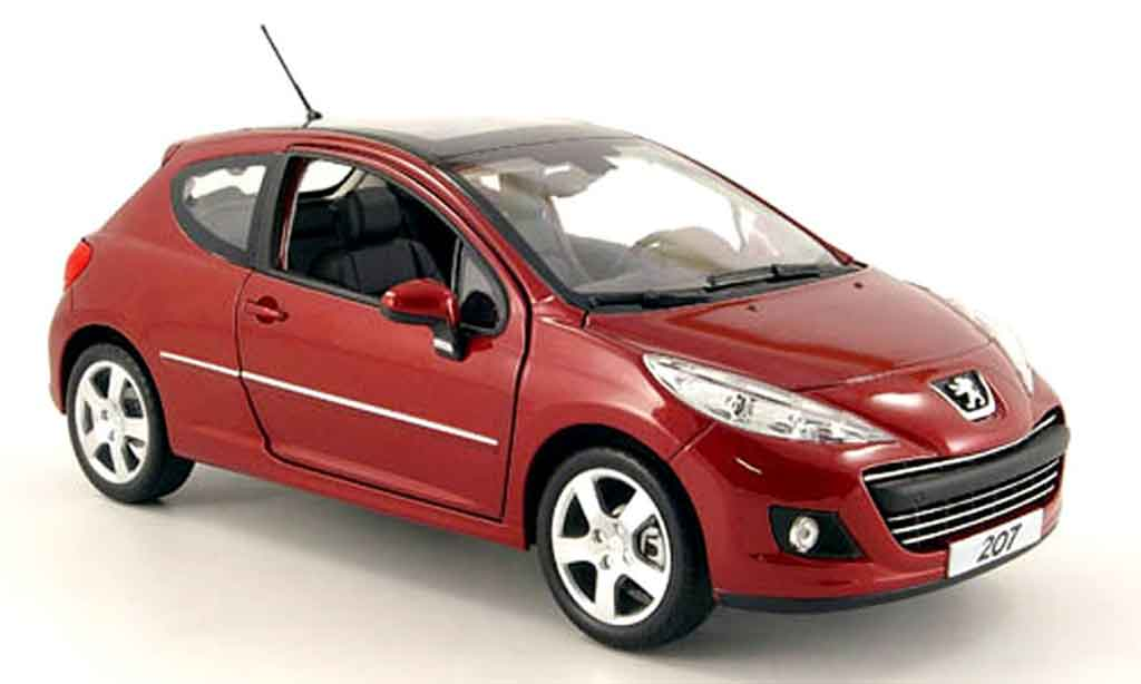peugeot 207 3 portes miniature rouge 2009 norev 1 18 voiture. Black Bedroom Furniture Sets. Home Design Ideas