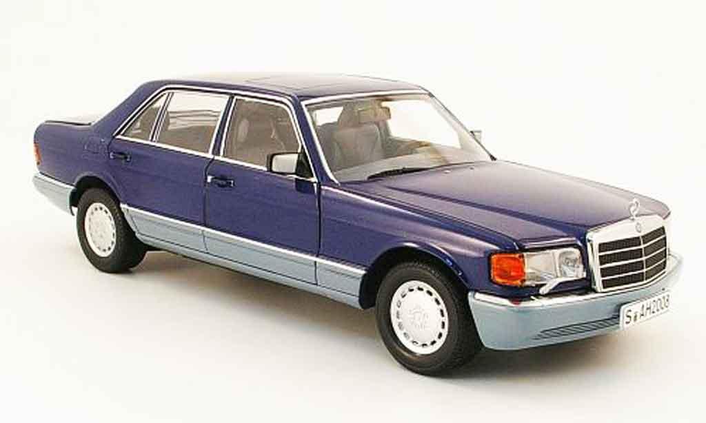Mercedes 560 SEL 1/18 Norev (w126) bleu /grise 1985 miniature