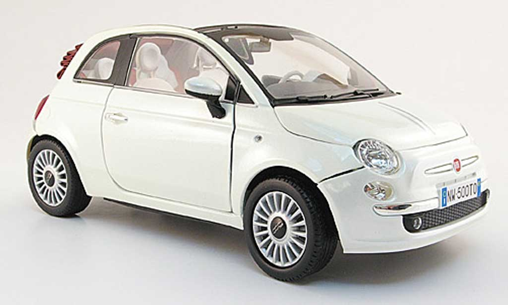 Fiat 500 C 1/18 Mondo Motors cabriolet white 2009 diecast model cars