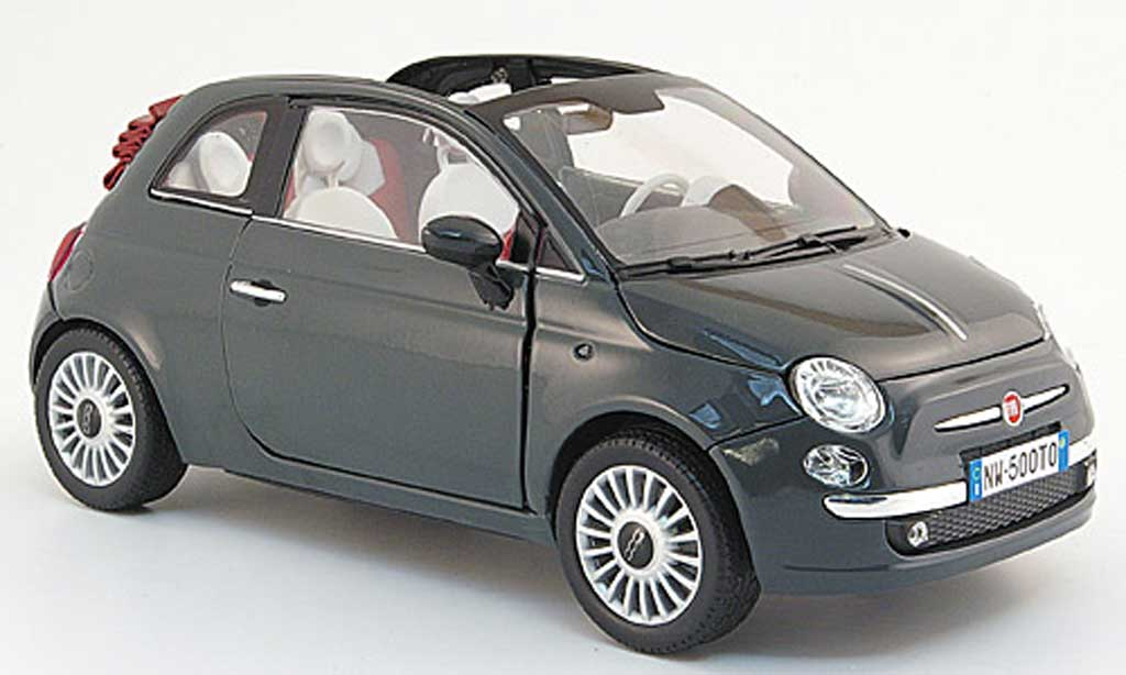 Fiat 500 C 1/18 Mondo Motors cabriolet grise 2009 miniature