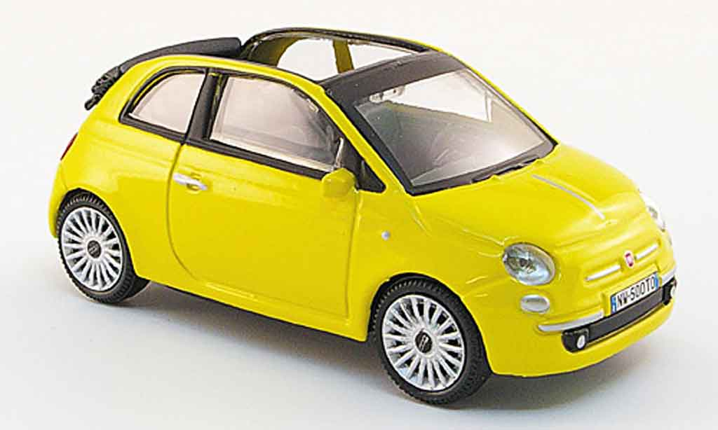 fiat 500 miniature c cabriolet jaune 2009 mondo motors 1 43 voiture. Black Bedroom Furniture Sets. Home Design Ideas