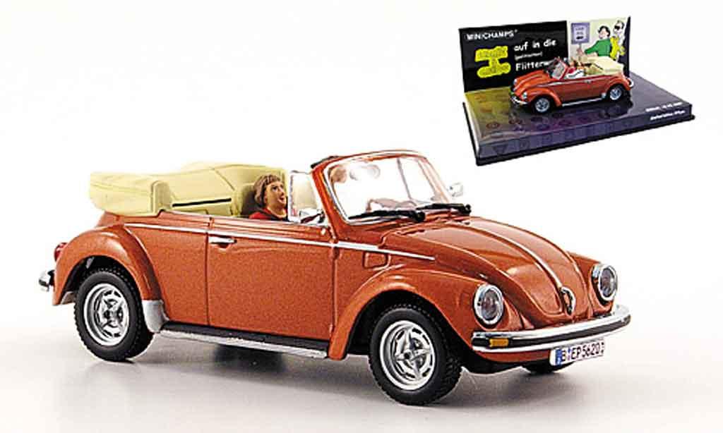 Volkswagen Coccinelle 1/43 Minichamps cabriolet met marron angie und guido miniature