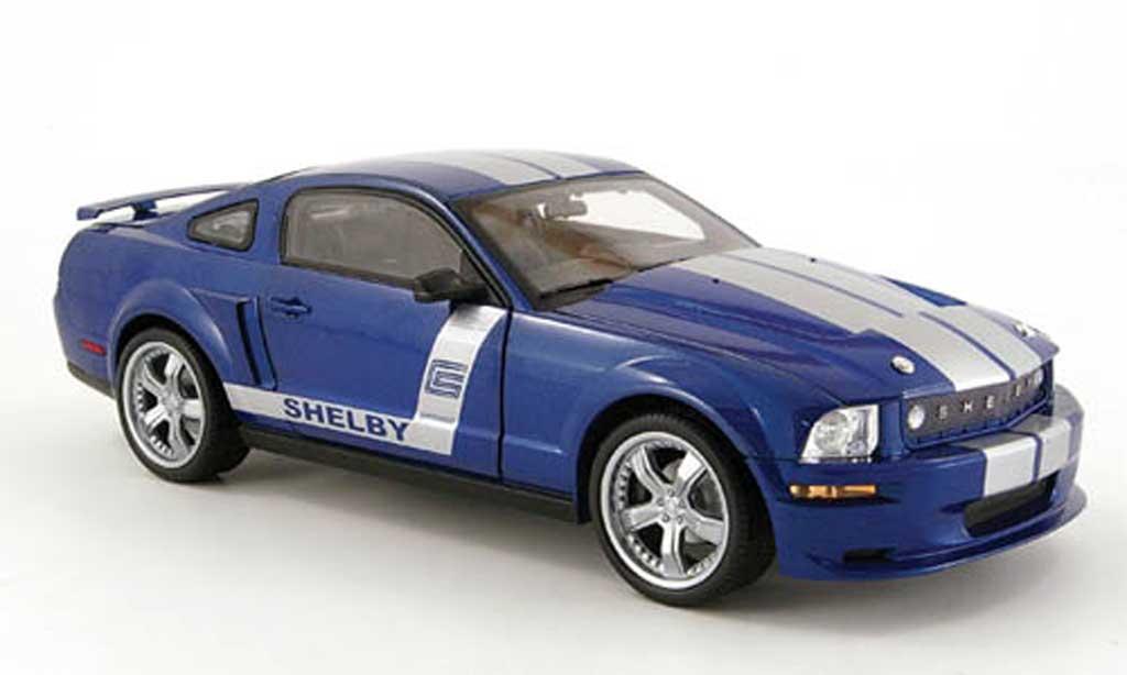 Shelby GT 1/18 Shelby Collectibles cs 6 bleu avec bandes grises 2008 miniature