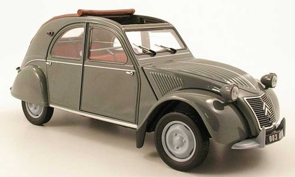 citroen 2cv miniature azlp grise 1958 avec toit ouvrant norev 1 18 voiture. Black Bedroom Furniture Sets. Home Design Ideas