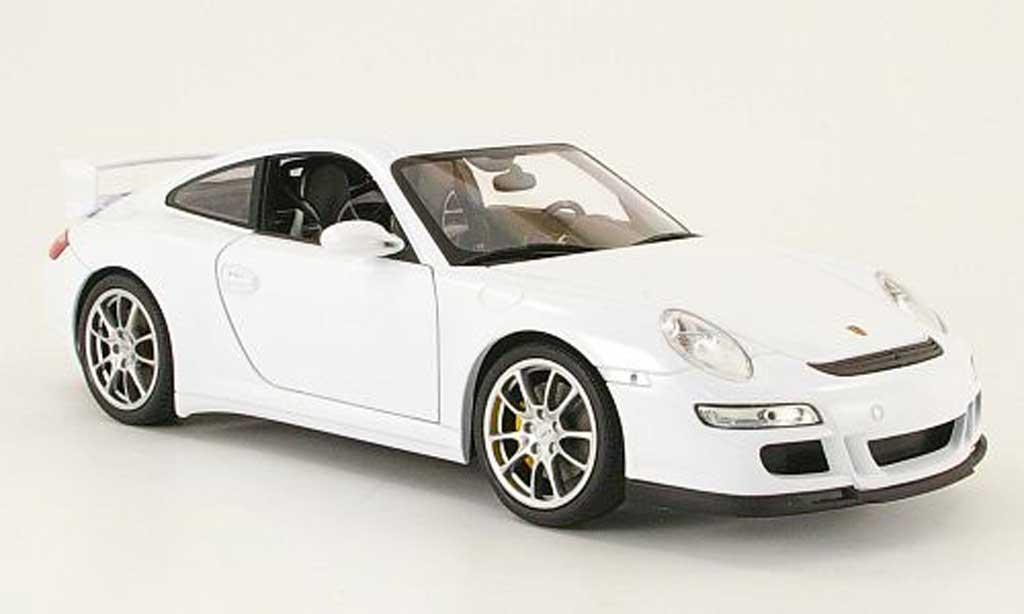 Miniature Porsche 997 GT3 blanche Welly. Porsche 997 GT3 blanche miniature 1/18