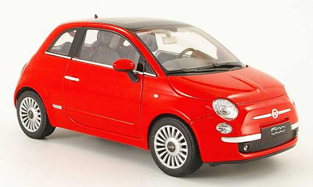 fiat 500 miniature rouge 2007 welly 1 18 voiture. Black Bedroom Furniture Sets. Home Design Ideas