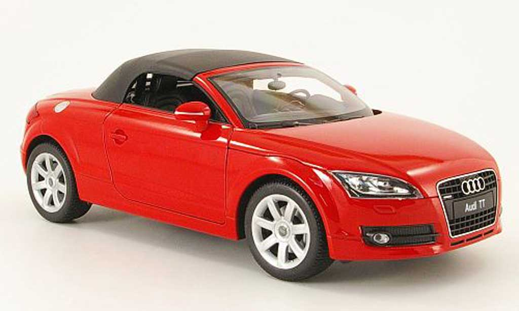 audi tt roadster miniature rouge avec capote welly 1 18 voiture. Black Bedroom Furniture Sets. Home Design Ideas