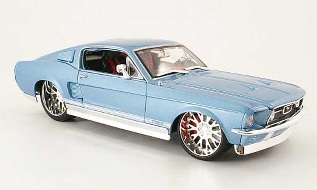 Ford Mustang 1967 1/18 Maisto gta fastback bleu pro rodz miniature