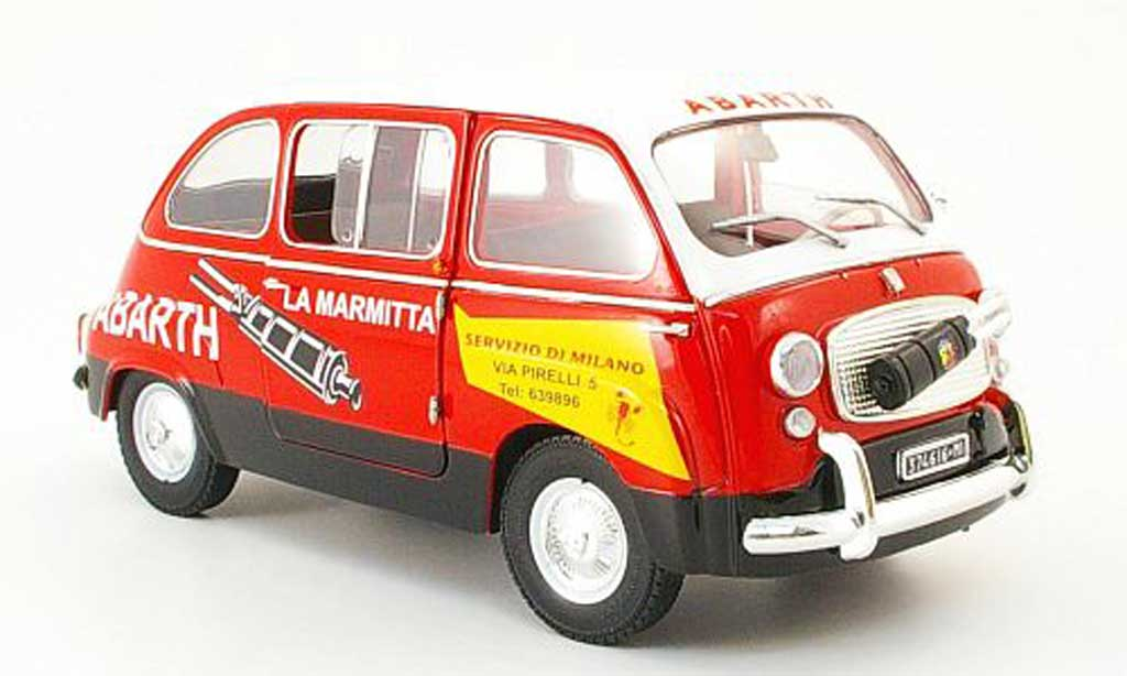 Fiat 600 1/18 Mini Miniera multipla abarth service rouge/blanche